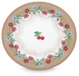 Pip Floral Gebaksbordje Cherry Kers Khaki 17 cm