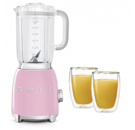 blender roze + 2 dubbelwandige glazen