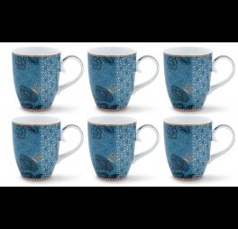 Pip Studio Spring to life set van 6 mokken blauw 350ml
